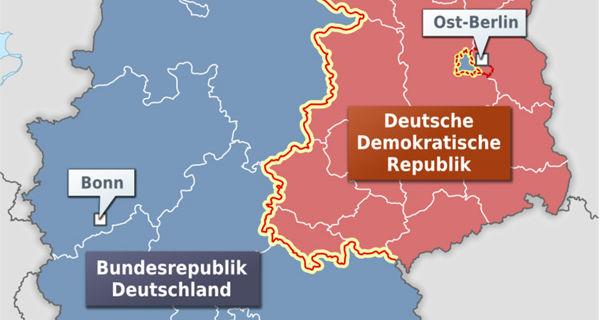 Ausschnitt der Karte der Innerdeutschen Grenze und der Bundesländer der BRD und Bezirke der DDR