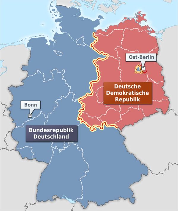 Karte der Innerdeutschen Grenze und der Bundesländer der BRD und Bezirke der DDR. Quelle: Wikimedia / Alexrk2, CC BY-SA 3.0.